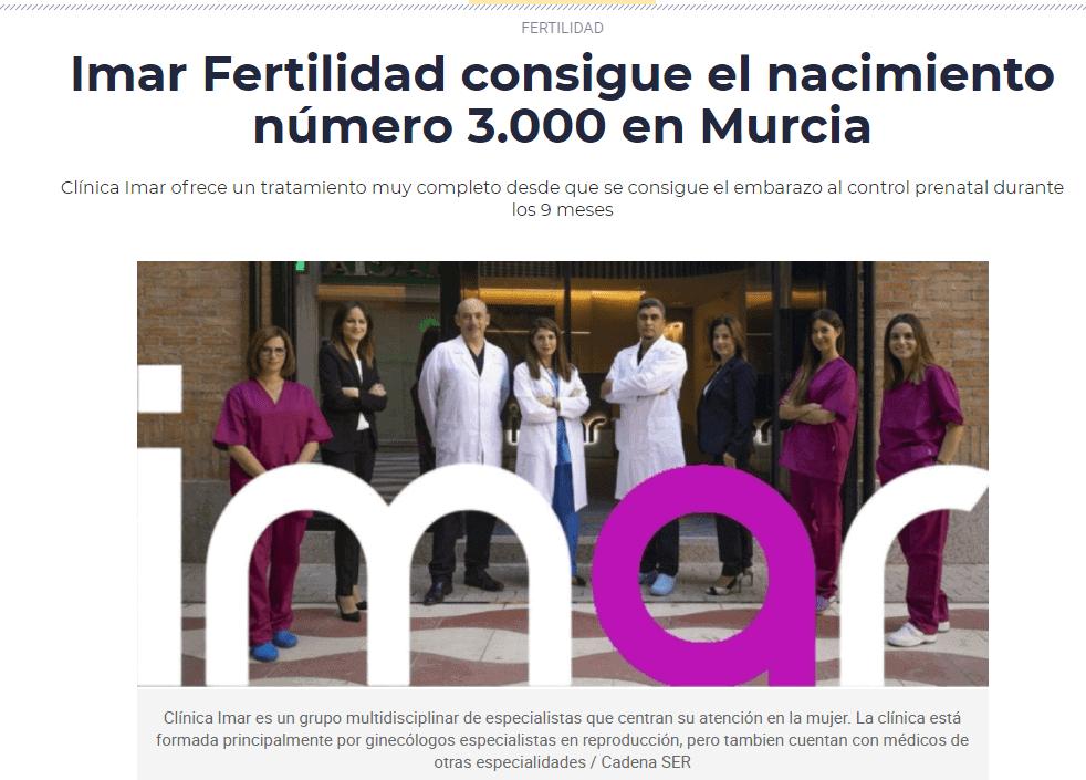 Imar Fertilidad consigue el nacimiento número 3.000 en Murcia